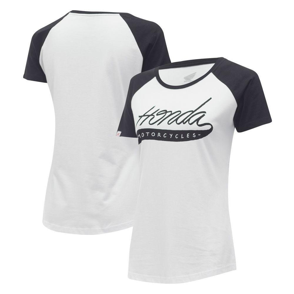 Camiseta Feminina Honda Raglan Branca - Coleção Vintage  - Convem Honda