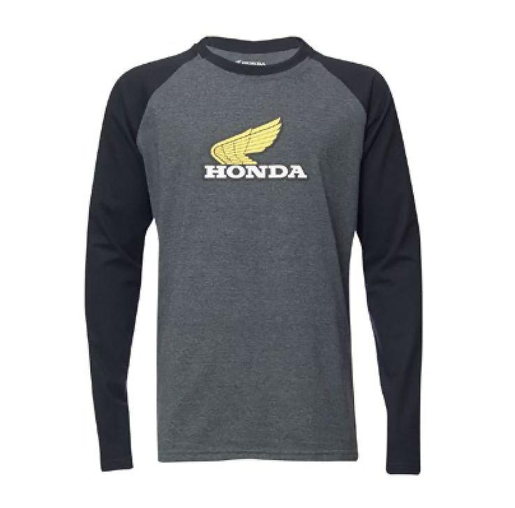Camiseta Honda Manga Longa Cinza/Preto - Coleção Vintage  - Convem Honda
