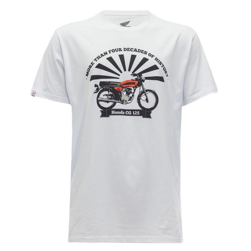 Camiseta Masculina Honda CG125 Branca - Coleção Vintage  - Convem Honda