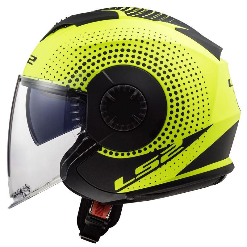 Capacete LS2 Aberto OF570 Verso Spin Amarelo Fluor/Preto Fosco  - Convem Honda