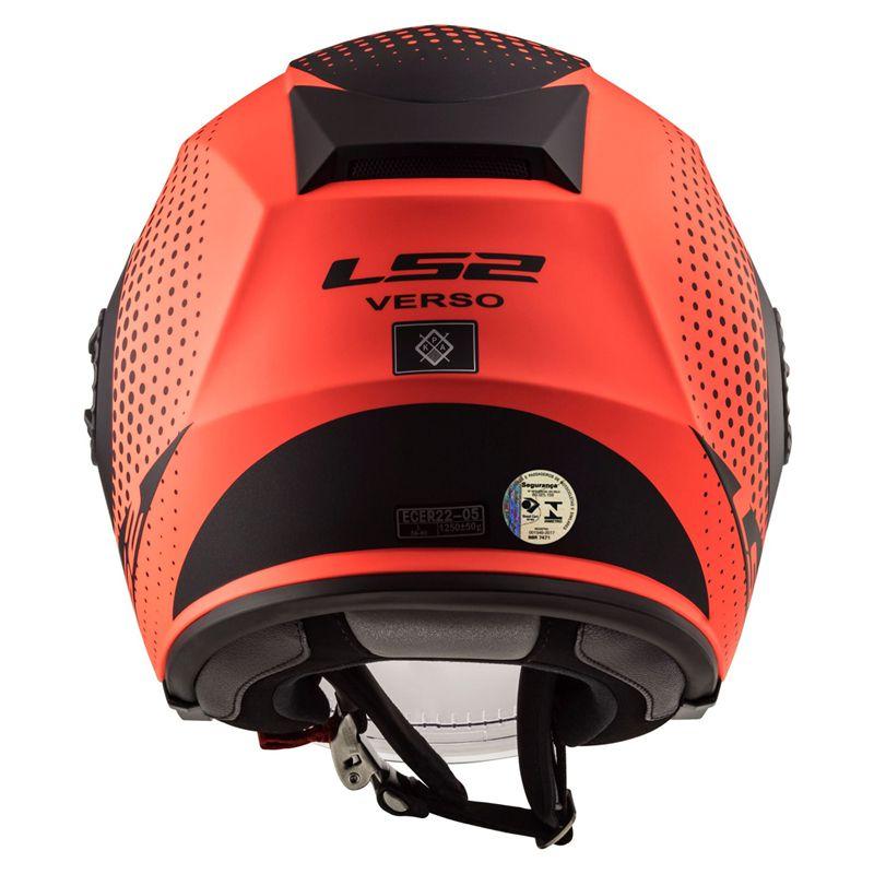 Capacete LS2 Aberto OF570 Verso Spin Laranja Fluor/Preto Fosco  - Convem Honda