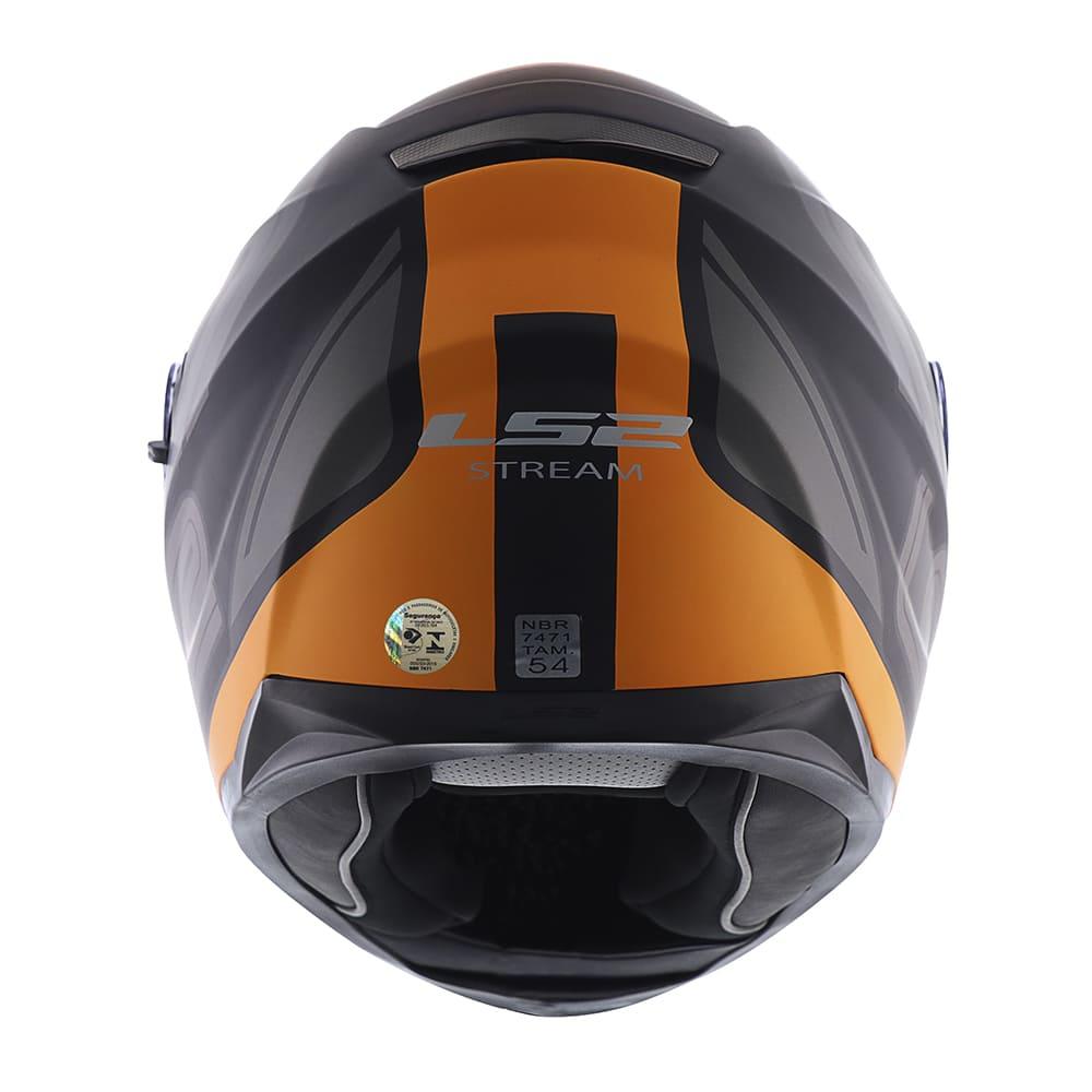 Capacete LS2 FF320 Stream Evo Orbital Preto Fosco/Laranja  - Convem Honda