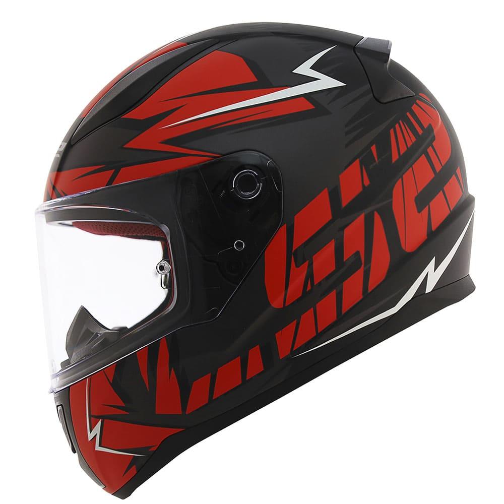 Capacete LS2 FF353 Cromo Preto Fosco/Vermelho  - Convem Honda