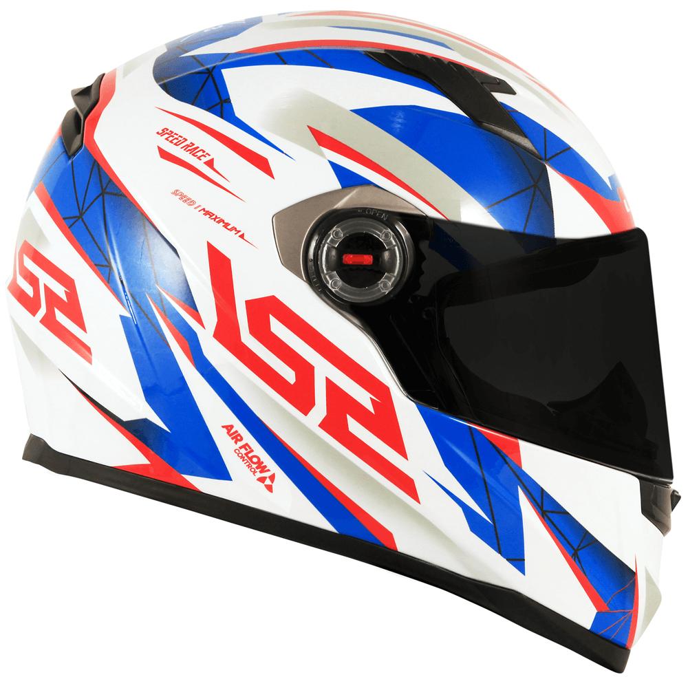 Capacete LS2 FF358 Drazze Branco/Azul/Vermelho  - Convem Honda