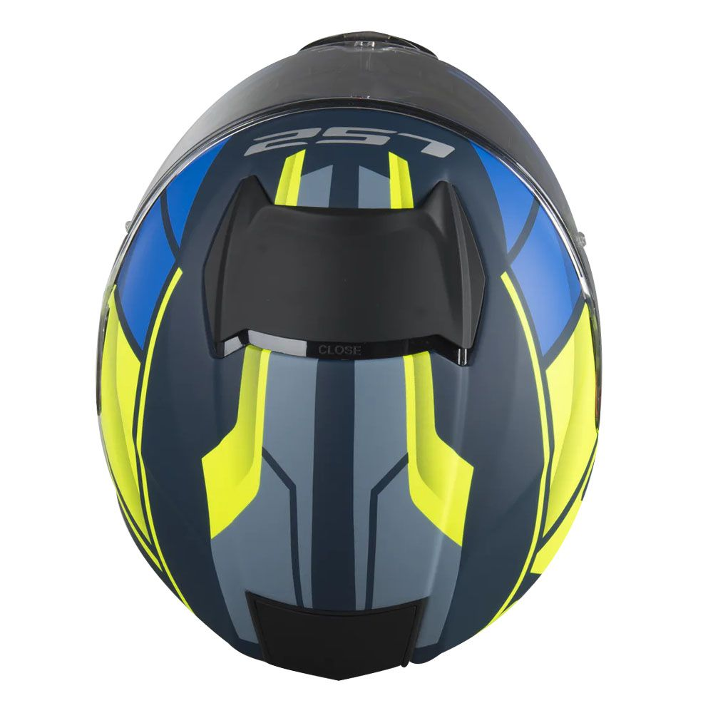 Capacete LS2 FF397 Vector Evo Kripton Azul Fosco/Amarelo Fluor  - Convem Honda