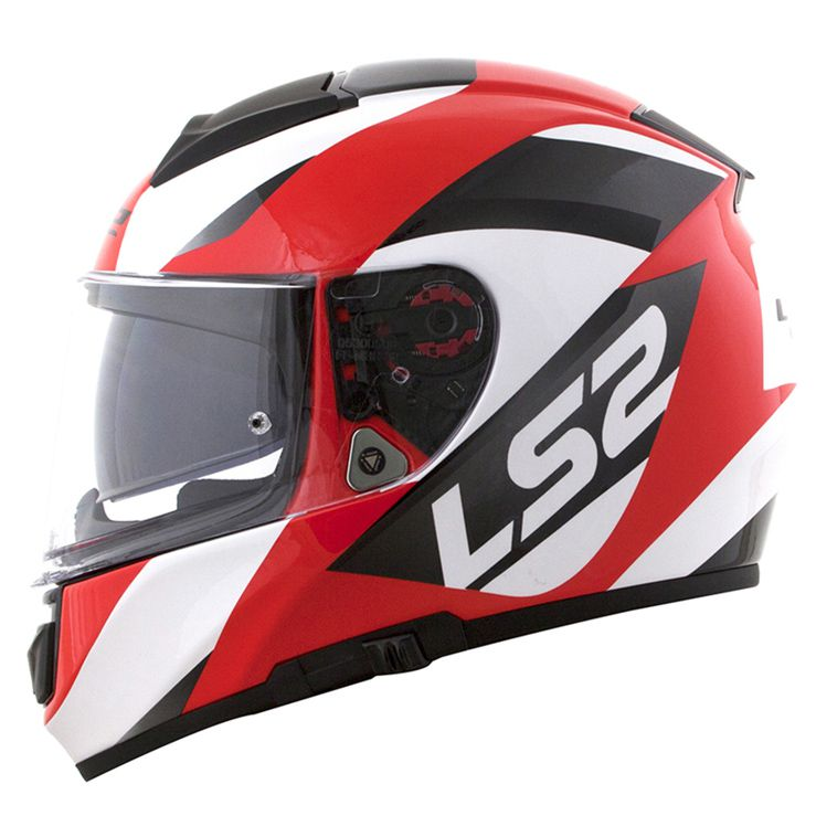 Capacete LS2 FF397 Vector Evo Wavy Preto/Branco/Vermelho  - Convem Honda