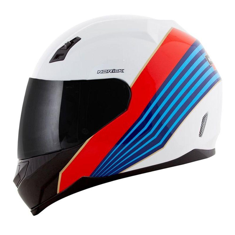 Capacete Norisk FF391 Stunt Dry Branco/Azul/Vermelho  - Convem Honda