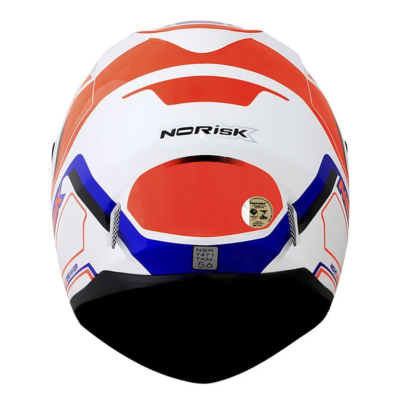 Capacete Norisk FF391 Stunt Nightbreaker Branco/Laranja/Azul  - Convem Honda