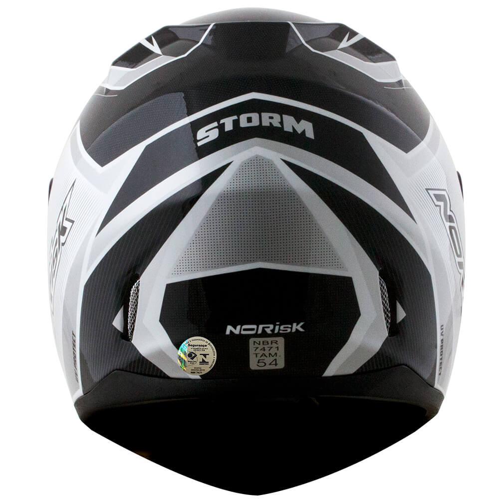 Capacete Norisk FF391 Stunt Storm Preto/Branco  - Convem Honda