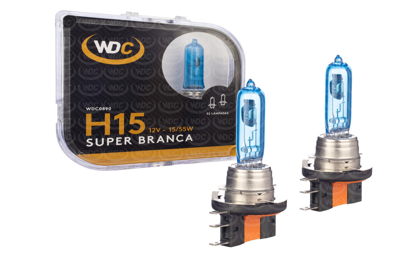 PAR LÂMPADA SUPER BRANCA UNIVERSAL H15 55/15W 12V - WDC0890
