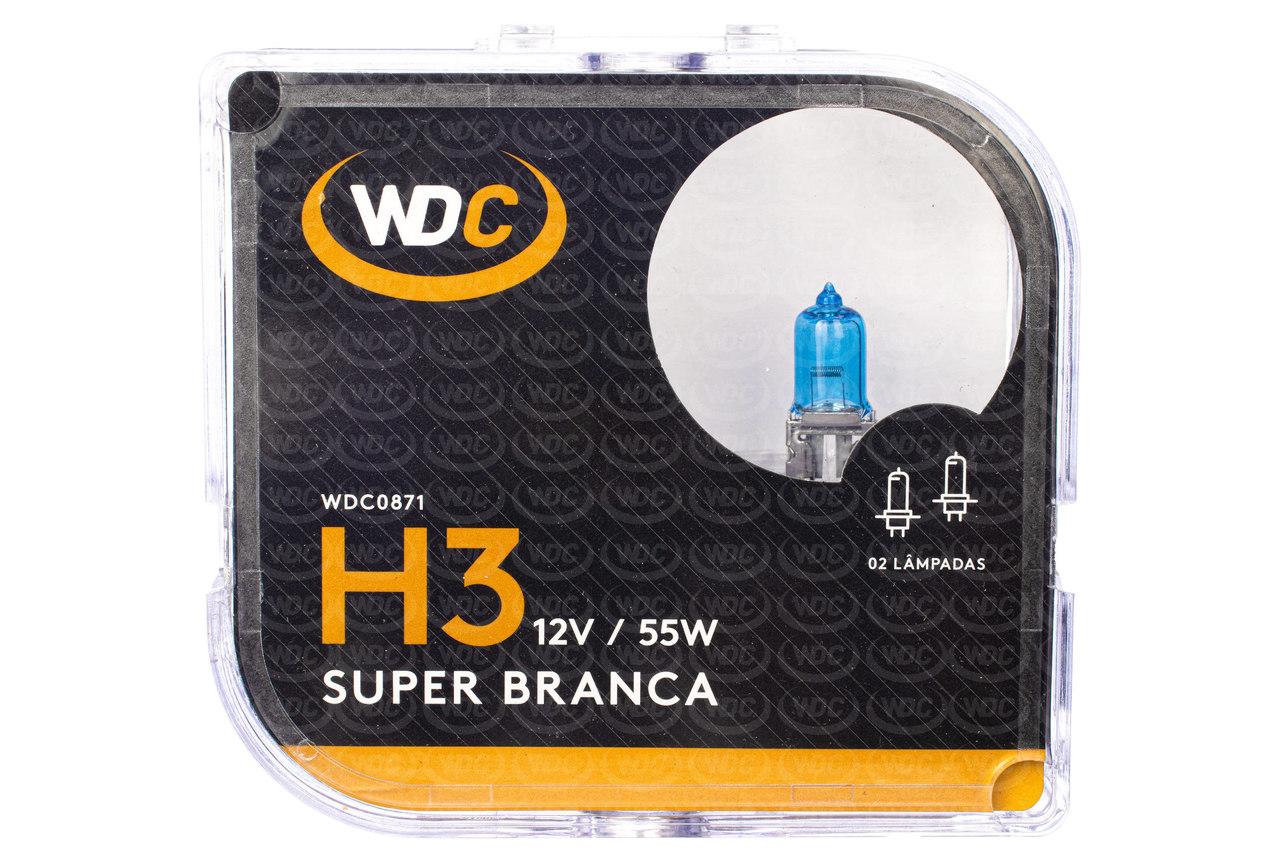 PAR LÂMPADA SUPER BRANCA UNIVERSAL H3 55W 12V - WDC0871