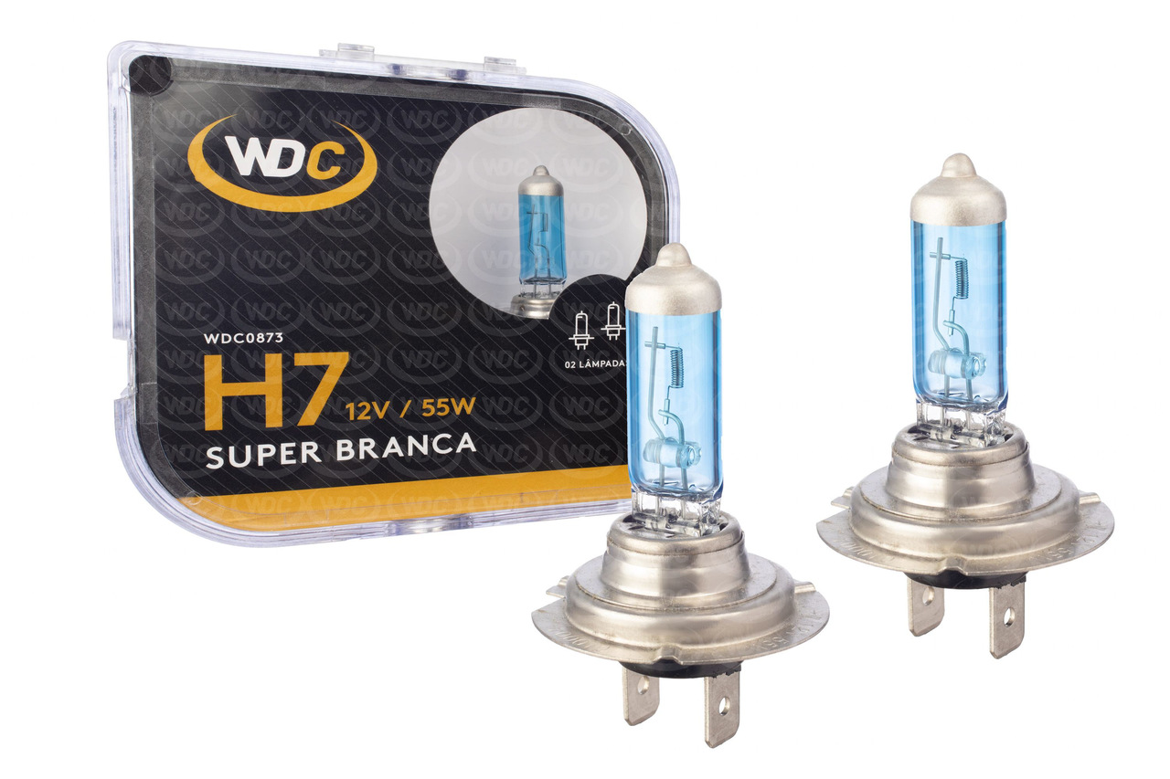 PAR LÂMPADA SUPER BRANCA UNIVERSAL H7 55W 12V - WDC0873
