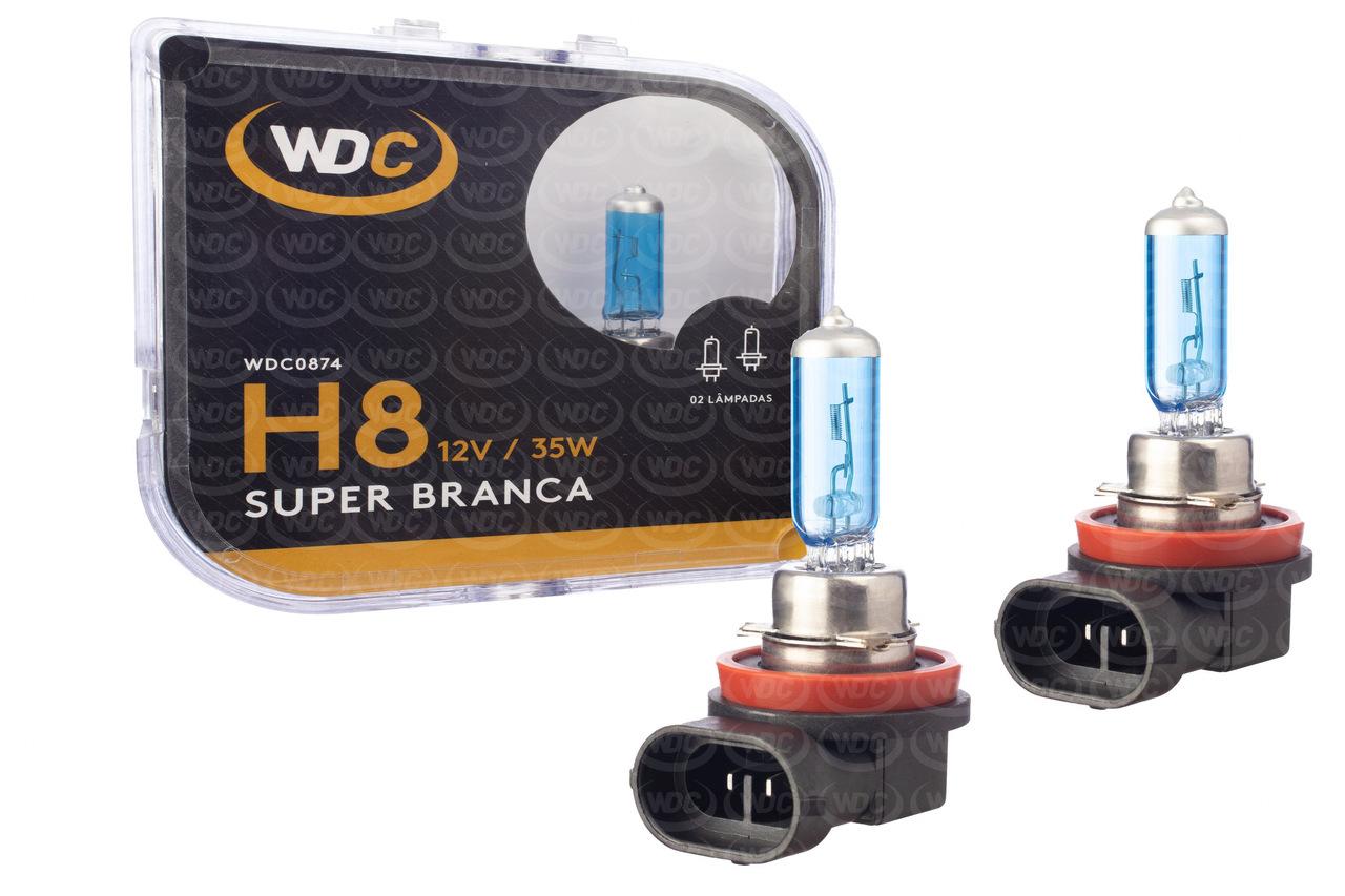 PAR LÂMPADA SUPER BRANCA UNIVERSAL H8 35W 12V - WDC0874