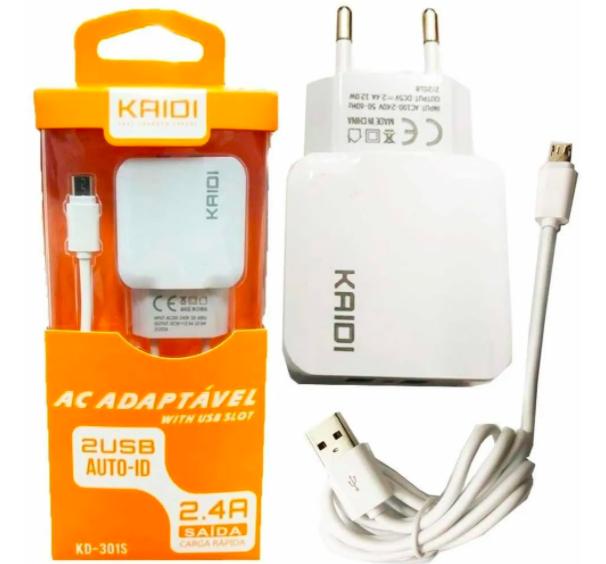 Carregador de celular - micro USB - carrega dois aparelhos ao mesmo tempo
