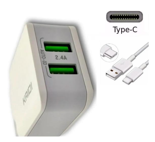 Carregador de celular - Tipo C - Carrega dois aparelhos ao mesmo tempo