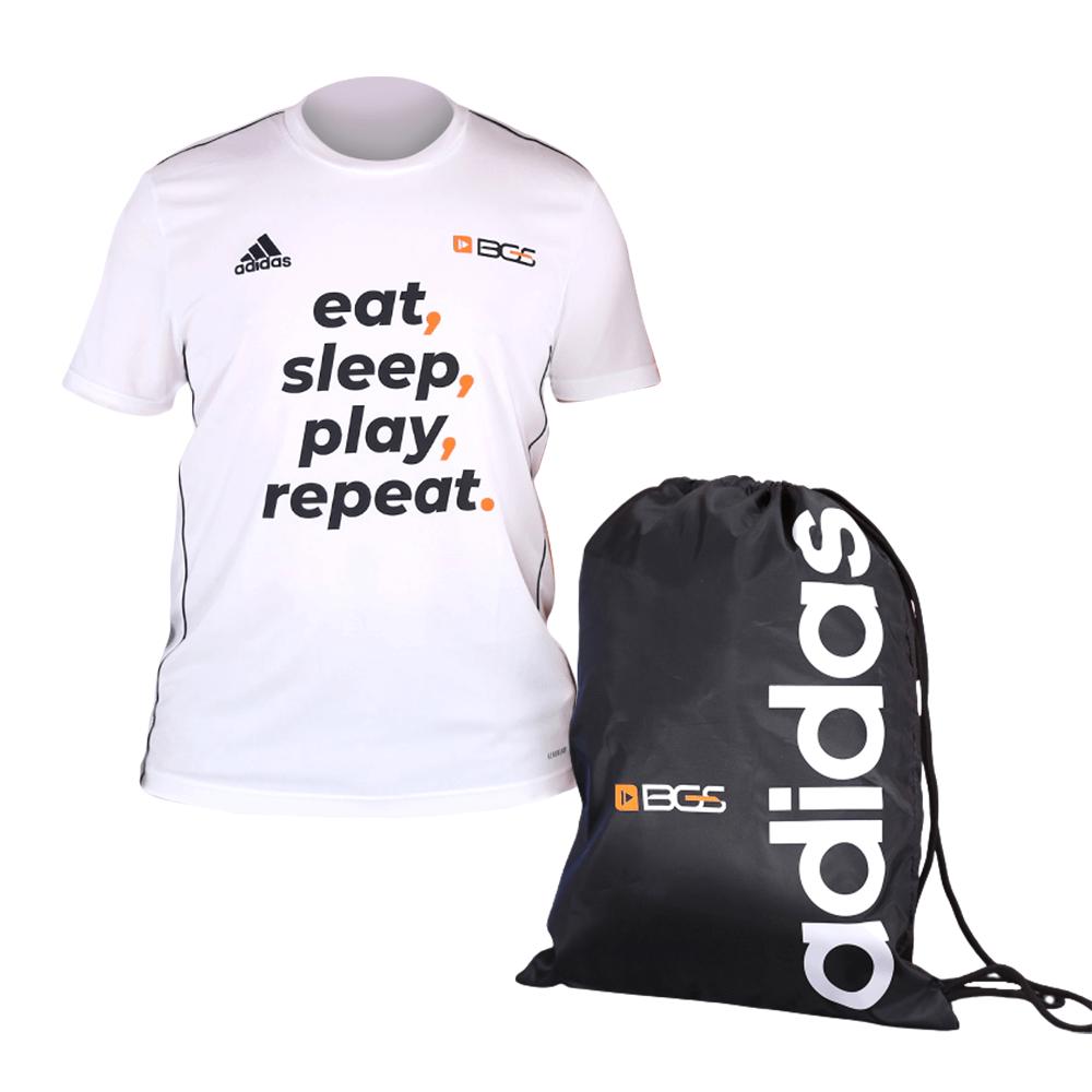 Combo Adidas x BGS Camisa Eat, Sleep, Play, Repeat e Bolsa de Treino Adidas x BGS