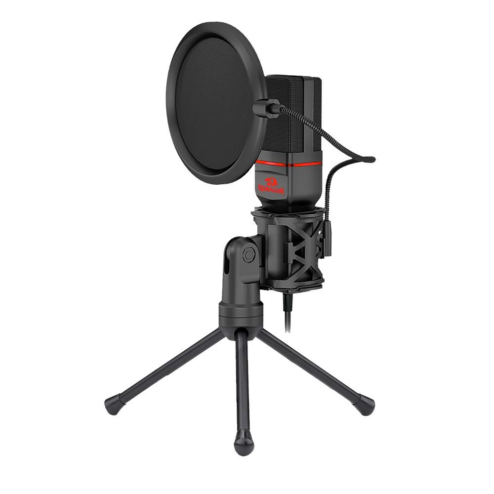 Microfone Gamer Profissional Redragon Seyfert com Tripé e Pop Filter