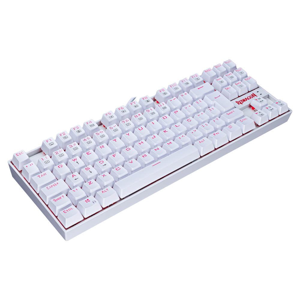 Teclado Gamer Redragon Kumara K552 QWERTY OUTEMU Brown, Branco com luz vermelha