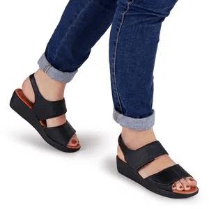 Sandália Feminina Anabela Usaflex Couro Velcro Ad5202