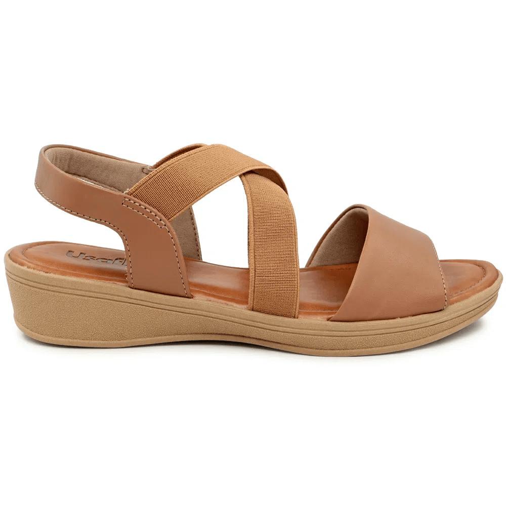 Sandália marrom camel Usaflex