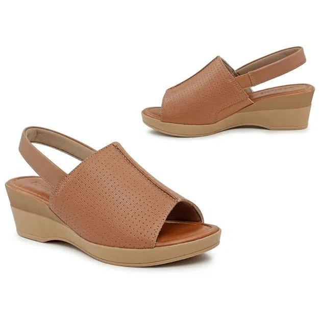 Sandália Usaflex Anabela marrom