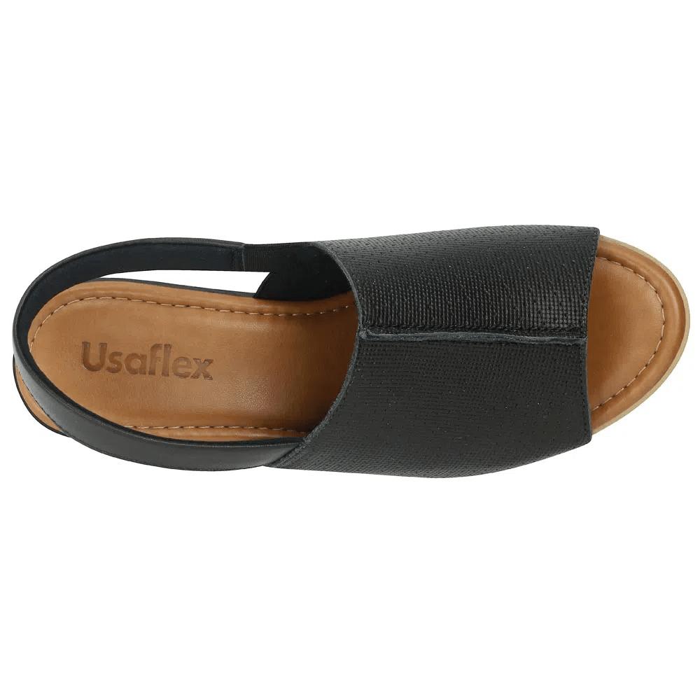 Sandalia Usaflex Slingback Preta