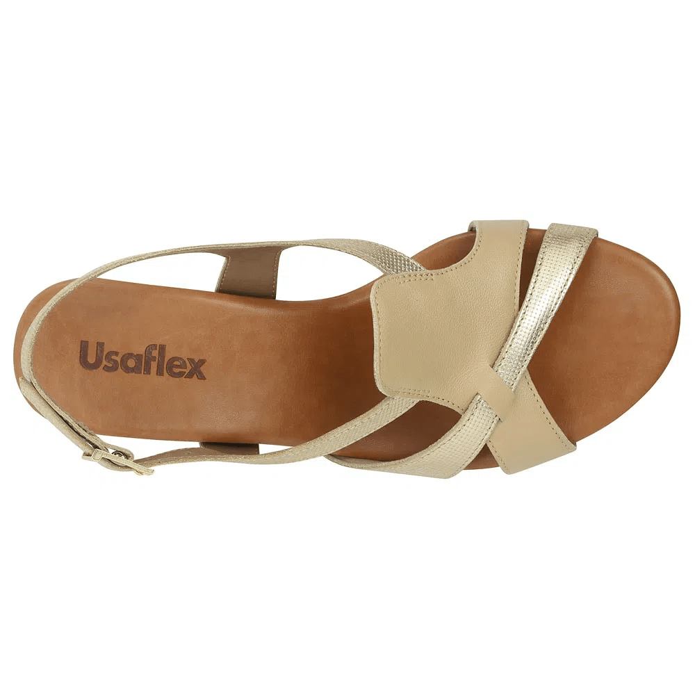 Sobre Sandália metalizada salto médio Usaflex