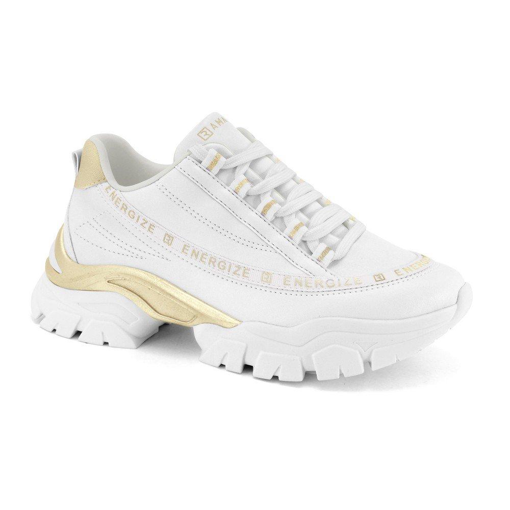Tenis Sneaker Ramarim 2184207-0002 BRANCO/OURO