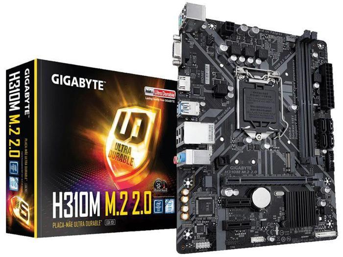 Placa Mãe Gigabyte Lga 1151 Intel H310m 2.0 M-atx Ddr4 2666mhz M.2 Hdmi Usb 3.1