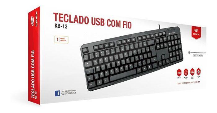 Teclado Básico USB C3Tech  KB-13 Preto