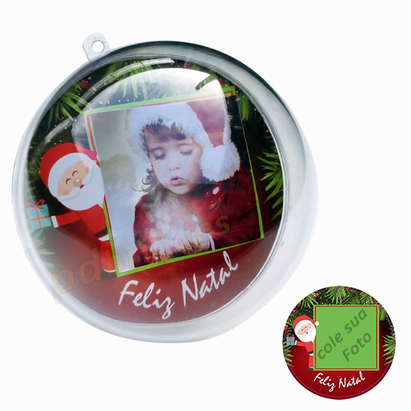 Bola de Natal Acrílica 7 cm - Para Foto - Kit 010 Un