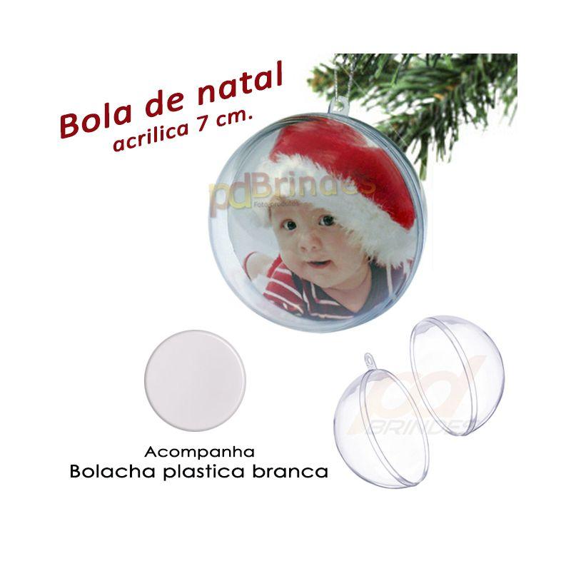 Bola de Natal c/ Bolacha Plastica Branca - 120 Un