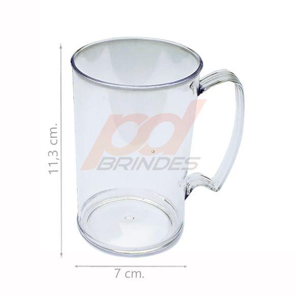Caneca Chopp Acrílico 350ml Cristal - Kit 100 peças