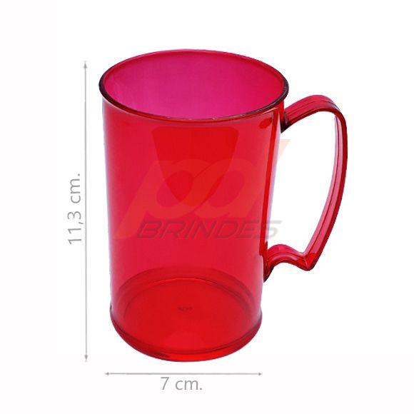 Caneca Chopp Acrílico 350ml Vermelho - Kit 100 peças