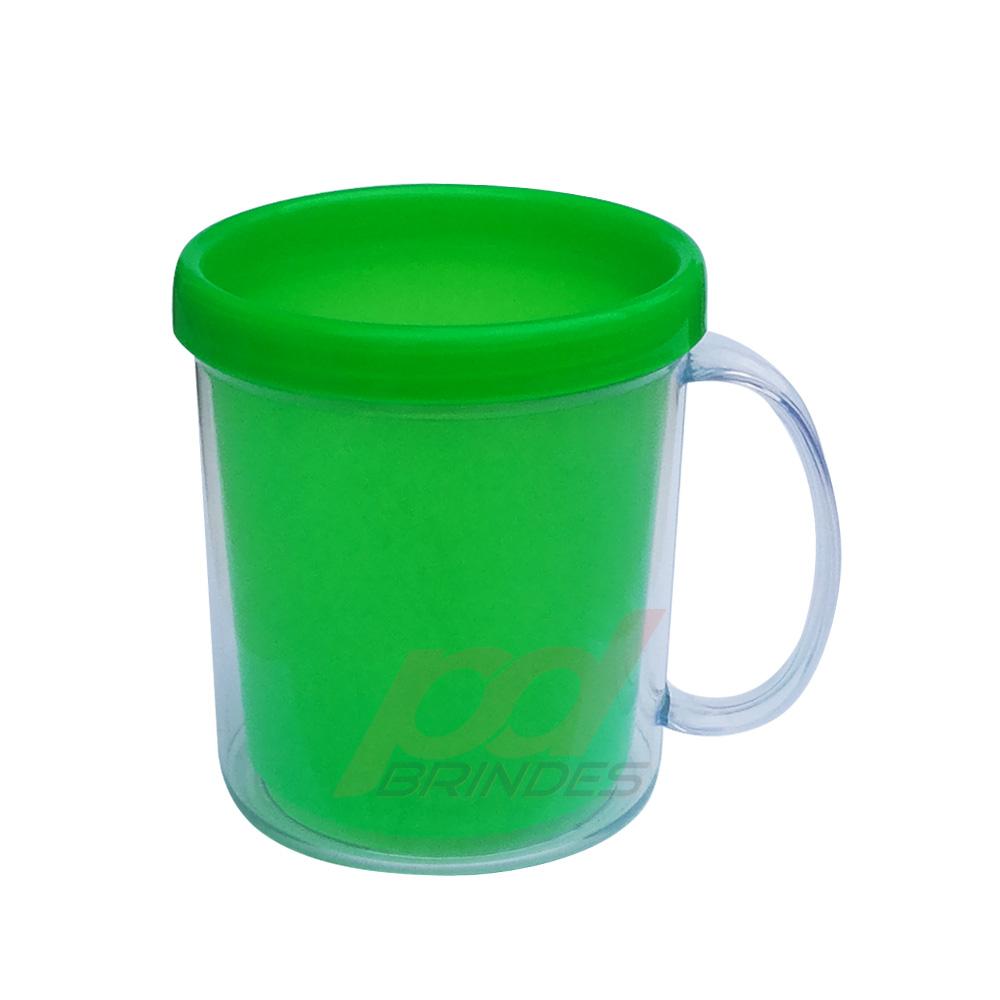 Caneca de Acrílico para Foto Verde - Kit 010 peças