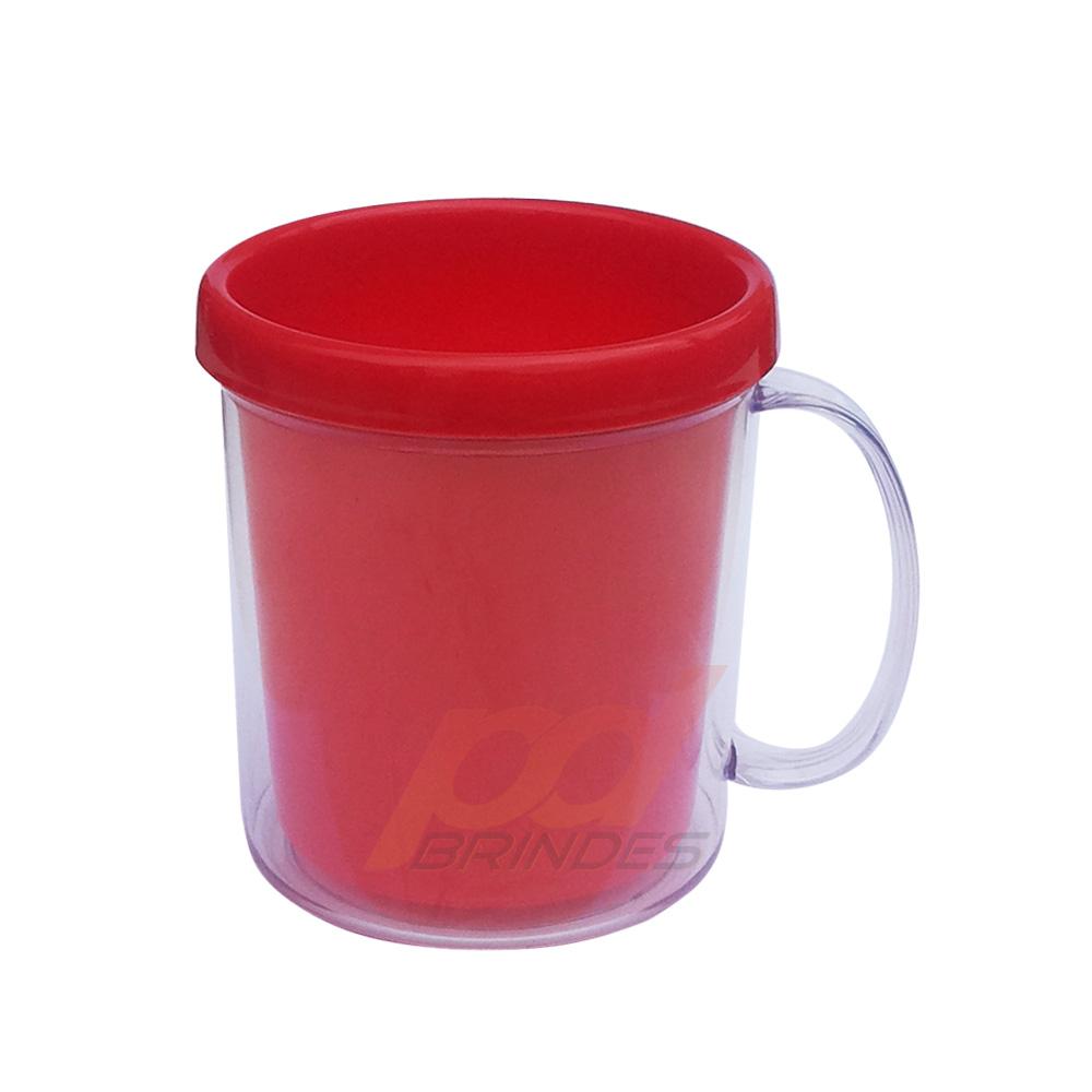 Caneca de Acrílico para Foto Vermelha - Kit 010 peças