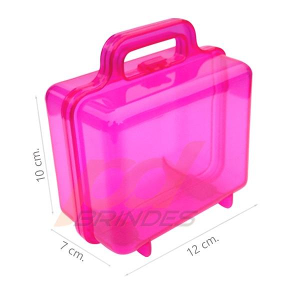 Maleta acrilica Rosa - Kit 18 peças