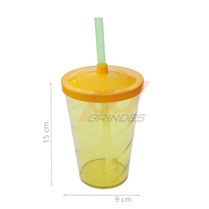 Copo canudo 500ml Amarelo - Kit 100 peças
