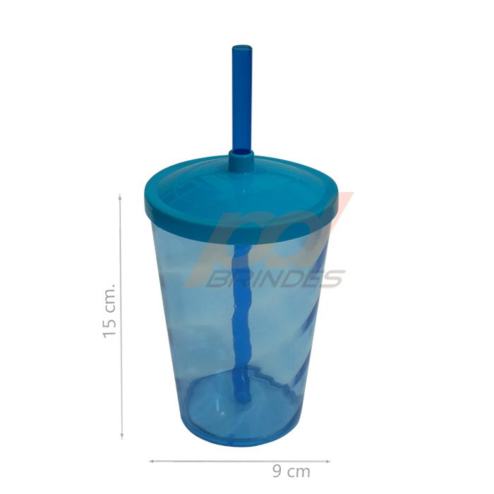 Copo canudo 500ml Azul - Kit 010 peças