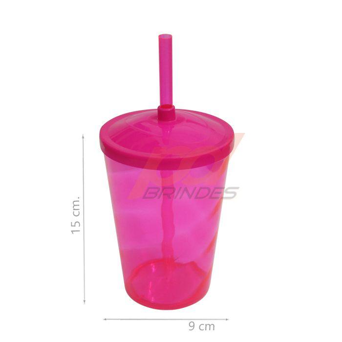 Copo canudo 500ml Rosa - Kit 100 peças