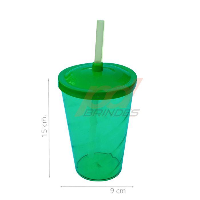 Copo canudo 500ml Verde - Kit 100 peças