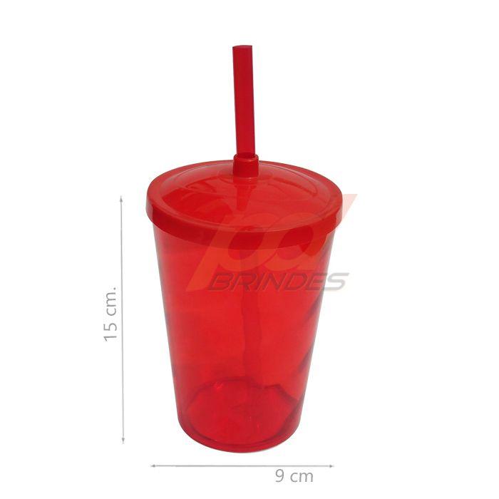 Copo canudo 500ml Vermelho - Kit 100 peças
