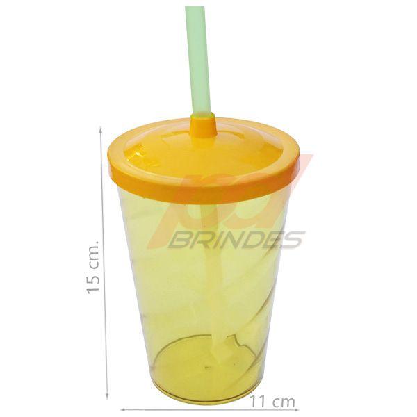 Copo canudo 700ml Amarelo - Kit 100 peças