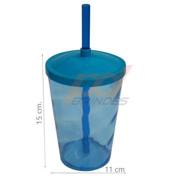 Copo canudo 700ml Azul - Kit 100 peças