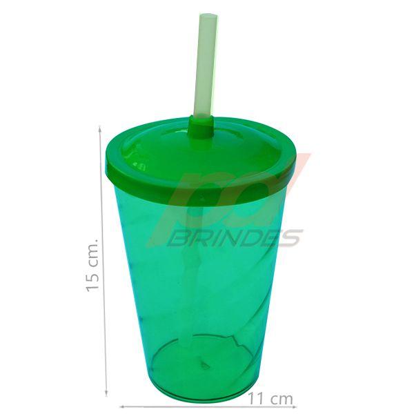 Copo canudo 700ml Verde - Kit 100 peças