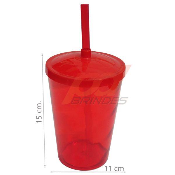 Copo canudo 700ml Vermelho - Kit 100 peças