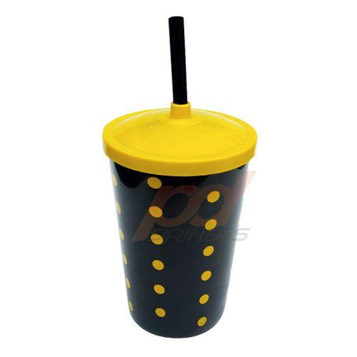 Copo canudo Decorado 700ml Amarelo - Kit 010 peças