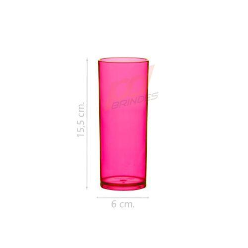 Copo long Drink 300 ml Rosa - Kit 100 peças