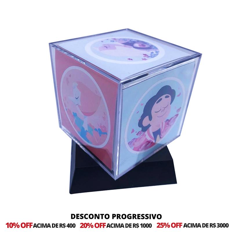 Foto Cubo 6,2 cm Com Base Personalizado - 20 Unidades