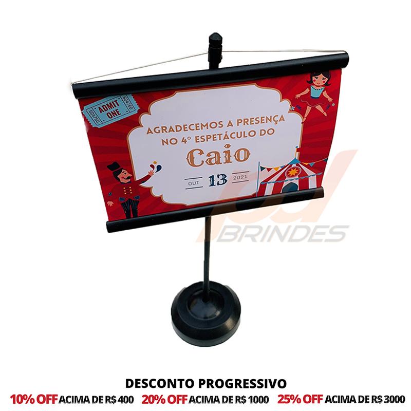 Mini Banner de Mesa Preto Personalizado - Para Foto 15 cm - 50 Unidades
